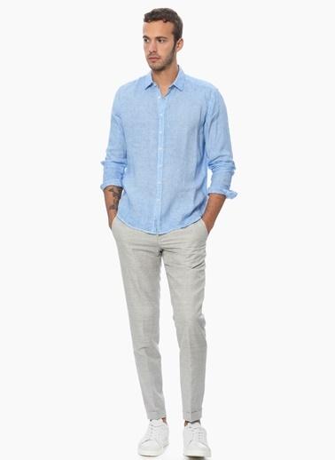 Que Uzun Kollu Keten Gömlek Mavi